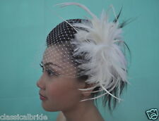 Bandeau 804 VEIL SET w/ Feather Hair Fascinator & Ivory / White Birdcage Blusher