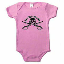 Be Warned Skull and Crossed Swords Pirate Baby Infant One Piece Pink 3-24