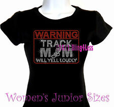 WARNING - Track Mom - Rhinestone Iron on T-Shirt - Pick Size S-3XL- Bling Top