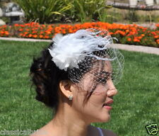 Mini VEIL SET w/ 901 OSTRICH Feather Hair Clip & Ivory / White Birdcage Blusher