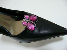 Ladies Acrylic Stone Butterfly Design Shoe Clips Pink Lilac Fashion Accessory