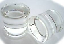 "~ CLEAR GLASS ~ DOUBLE FLARE GAUGES PLUGS TUNNELS ~CHOOSE GAUGE UP TO 1"" ~ HOT~"