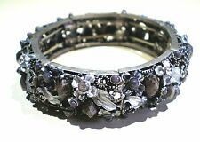 """Gorgeous Floral Design Bracelet With Natural Stone & Rhinestones 7"""" Long"""