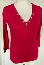 Adini 100% cotton 1X1 rib 3/4 sleeve V neck top button detail to neck and cuffs