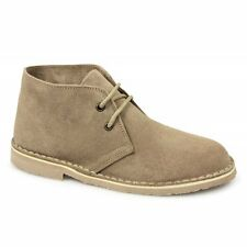 Roamers Womens Ladies Soft Casual 2 Eyelet Suede Leather Desert Boots Taupe New