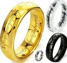 Tungsten Ceramic Stainless Steel Ring Lord of Rings LOTR The One Wedding All SZ