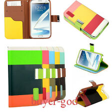 Hybrid Leather Wallet Flip Pouch Case Cover For Samsung Galaxy Note II 2 N7100