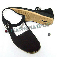 Black Mary Jane Chinese Shoes Slippers Cotton Sole Flats Ballet Women Size 5-9
