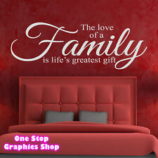 FAMILY LOVE GIFT WALL ART QUOTE STICKER -  LOUNGE BEDROOM KITCHEN LOVE DECAL