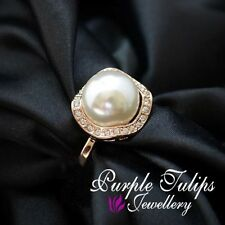 18CT Rose Gold Plated Classic elegant Pearl Ring Made With SWAROVSKI Crystals