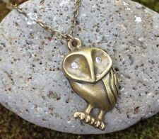Bronze owl & star necklace - antiqued brass bird pendant, white crystal eyes