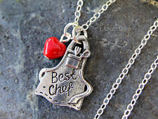 Best Chef - apron & heart necklace - sterling silver chain - Culinary, gift