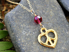 Gold peace sign heart necklace w/ birthstone Swarovski crystal - you pick color