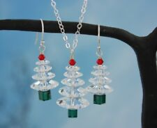 Winter White Crystal Christmas tree sterling silver necklace & earring set