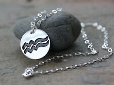 Astrological signs necklace - handmade fine silver pendant on sterling chain