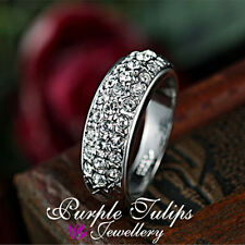 18CT White Gold Plated Fashion Sparkling Ring Made With SWAROVSKI Crystals