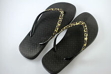 Womens Non-Slip Soles Filp Flops Sandals Leopard Print on Strips (Black)