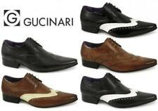 Gucinari Italian Mens Leather Brogue Formal Shoes Two Tone Black White Tan Beige