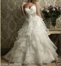 Gorgeous A-line one-shoulder custom Wedding dress Bridal Gown Size Free New Hot+