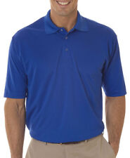 UltraClub Men's Relaxed Fit Cool Dry Ribbed Collar Interlock Polo Shirt. 8425