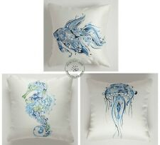 Novelty Blue Goldfish Seahorse Jellyfish pattern cushion cover throw pillow case