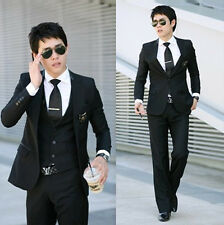 New Mens Top Design Business Fitted Wedding Dress Blazers Suits Pants Vest BLACK