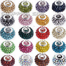 11mm Loose Crystals Beads Charms Bracelet Spacer Rhinestone Pave Disco Balls CZ