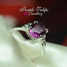 18K White Gold Plated Gorgeous Amethyst Ring Made With SWAROVSKI Crystal