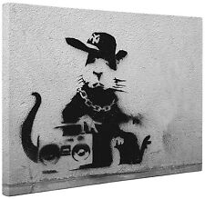 """Banksy Canvas"" Retro Ghetto Rap Rat Print Wall Art Grey and Black a1 a2"