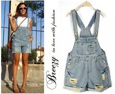 Vintage Backless Women Washed Light Blue Denim Playsuit Dungaree Romper Shorts