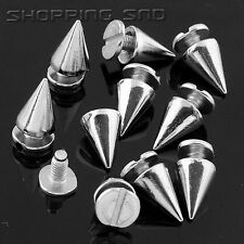 LOT 10mm 3/8 Silver Cone Screw Metal Studs Leathercraft Rivet Bullet Spike PUNK