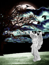 Angel White Crows Tree Full Moon Signed Surreal Matted Picture Art Print A386