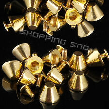Gold Mushroom Screw Spike Metalic Studs Rivet Spots Cone Punk Leathercraft Diy