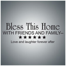 Bless this home with friends...WALL QUOTE DECAL VINYL LETTERING SAYING