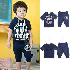 Twinset Boys Toddlers Short Sleeve Hoodies Middle Pants Sportwear Letters 1Gb