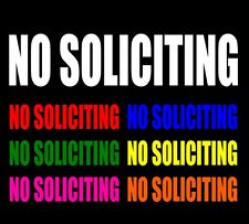 NO SOLICITING Vinyl Window Decal Business Door Prohibited Storefront ANY SIZE