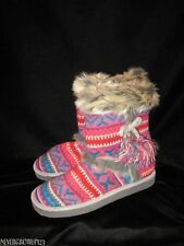 XHILARATION KNIT BOOT SLIPPERS WITH FAUX-FUR TRIM~LADIES 5/6~7~8~10~NWOT