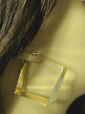 THICK GEOMETRIC SQUARE HOOP EARRINGS SILVER OR GOLD TONE 2 INCH SQUARE