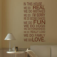 LARGE QUOTE IN THIS HOUSE RULES FAMILY LOVE FUN ART WALL STICKER TRANSFER DECAL