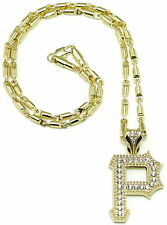 P Necklace Small New Iced Out Crystal Rhinestones Pendant 24 Inch Bullet Chain