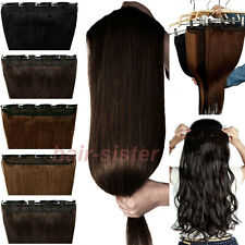 US Post 100% Natural One Piece long straight/curly hair extensions clip in on H8