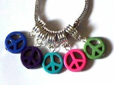 TURQUOISE HOWLITE PEACE SIGN CHARM FITS EUROPEAN BRACELETS - BUY 3 GET 1 FREE