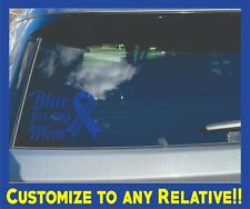 "CUSTOMIZES CAR WINDOW BLUE ""COLON CANCER RIBBON"" VINYL DECAL 7""X5"""