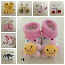 BABY GIRLS BOYS NON-SLIP SOCKS COTTON BOOTIES SHOES SLIPPERS NEWBORN TODDLER *3D