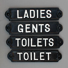 GENTS / MENS LADIES / WOMENS & TOILETS DOOR SIGNS OLD ANTIQUE CAST IRON STYLE