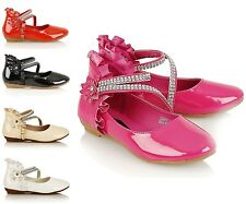 NEW GIRLS KIDS VELCRO DIAMANTE BRIDESMAID WEDDING SHOES PROM PARTY SANDALS