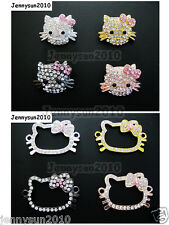 10Pcs Side Ways Crystal Rhinestones Happy Cat Bracelet Connector Charm Beads