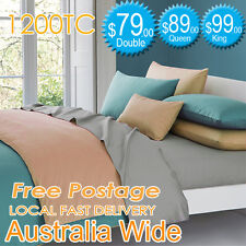1200TC Cotton Rich AUS Size Quilt Cover or Sheet Set Flat,Fitted,Pillowcases