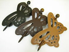 U Pick 1, Butterfly Faux Leather Slide Hair Pin Hair Barrette Black Brown