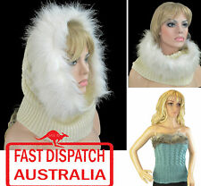 Faux Fur Strapless Top Shawl Wrap Scarf Knit Knitted Hood Snood Neck Warmer
